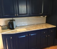 Custom granite and tile backsplash done by RMG